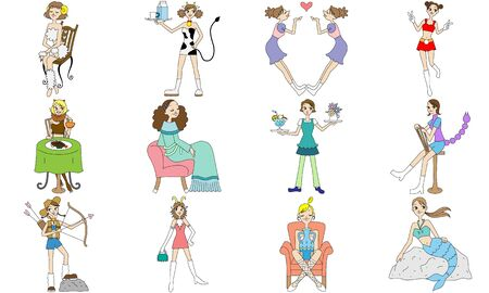 Illustration of girls dressed as 12 zodiac signs