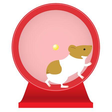 Ilustracja przedstawiająca obracającego się chomika