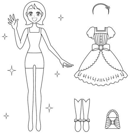 Illustration of Girl's Paper Doll (Monochrome)