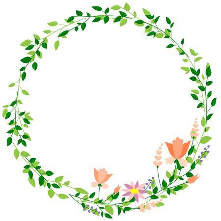 Okrągła rama z liści i kwiatów (materiał tła)