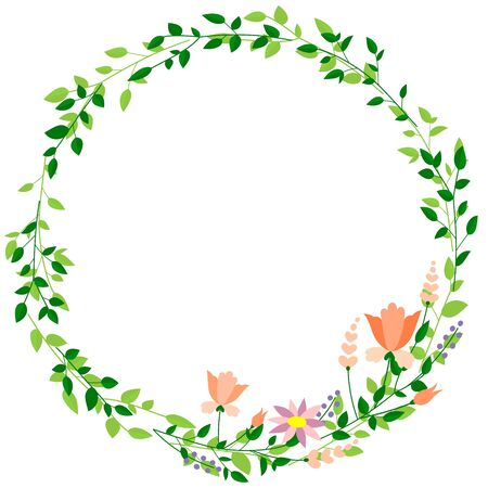 Round Frame of Leaves and Flowers (background material) Иллюстрация
