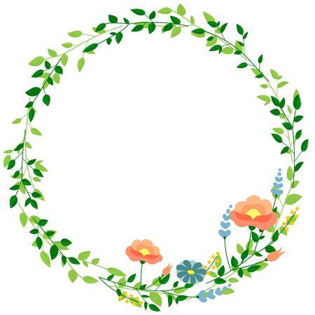 Runder Rahmen aus Blättern und Blumen (Hintergrundmaterial) Vektorgrafik