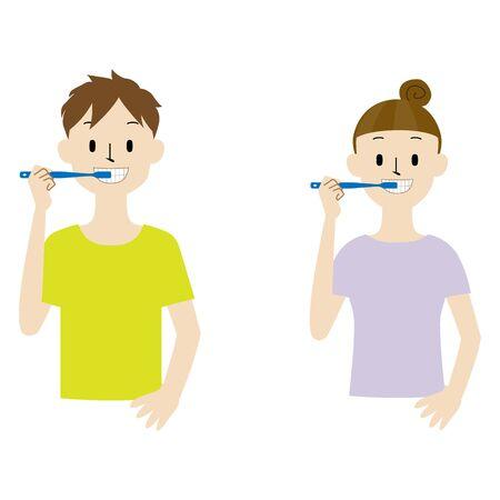 Illustration set of a couple brushing teeth