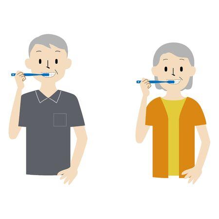 Illustration set of senior couple brushing teeth