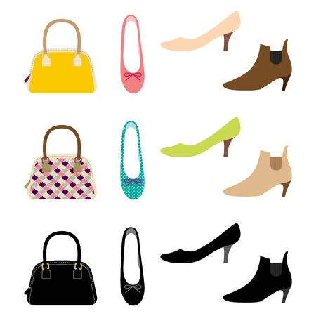 Illustration Set of Shoes and Bags (ladies fashion accessories)