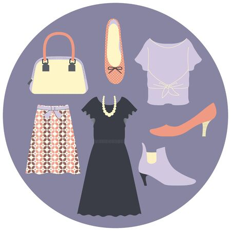 Illustration Set of Dresses and Shoes (ladies fashion accessories) Illustration