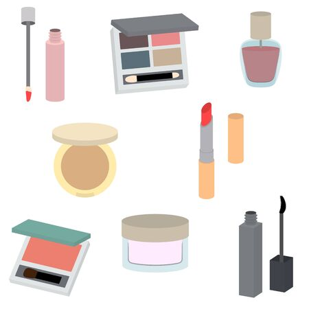 Illustration Set of Cosmetic Supplies (Only Painting with Out Line)