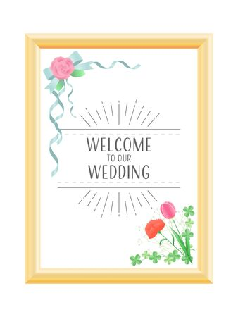 Illustration of wedding welcome board