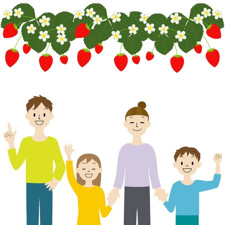 Illustration of a family who came to pick strawberries