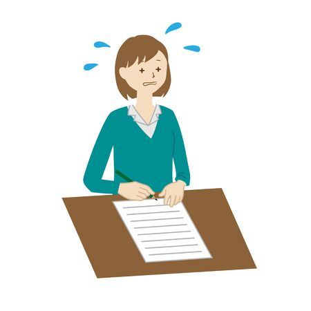 Illustration of a businesswoman writing documents Vetores