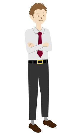 Illustration of a businessman standing (Arms folded)