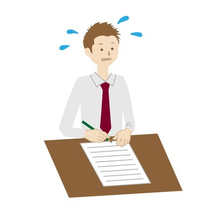 Illustration of a businessman writing documents