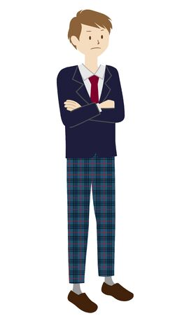 Illustration of a male student standing (Arms folded)