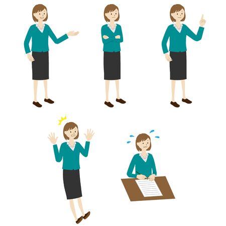Illustration of a businesswoman 5 poses set