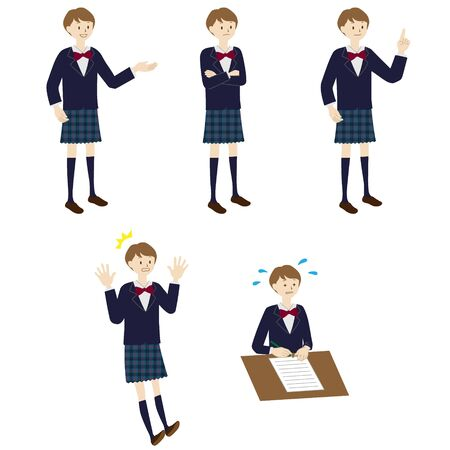 Illustration of a female student 5 poses set