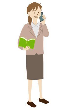Illustration of a female teacher standing (on the phone)