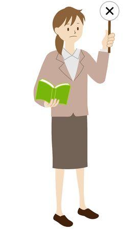 Illustration of a female teacher standing (Raise the incorrect answer) Ilustração