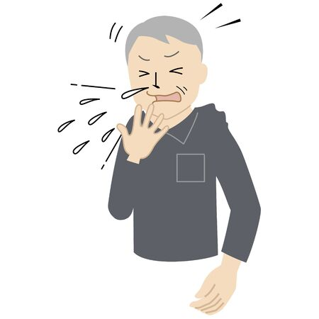Illustration of a Senior man who can't stop sneezing.