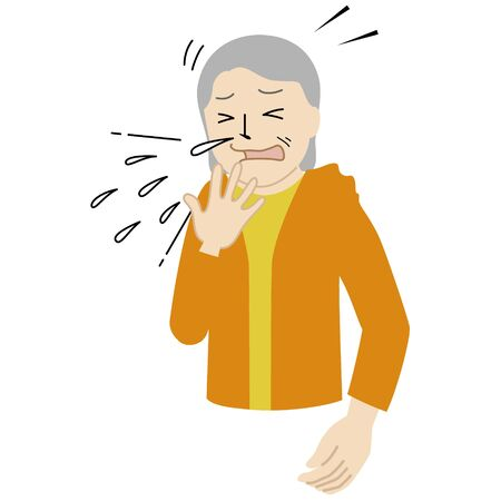 Illustration of a Senior woman who can't stop sneezing.