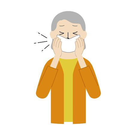 Illustration of a senior woman covering her mouth and nose with a handkerchief when coughing or sneezing