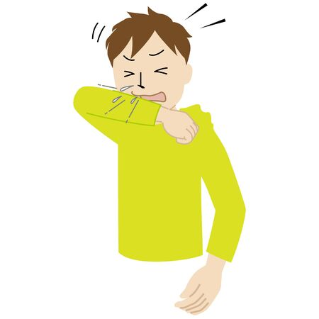 Illustration of a man covering his mouth and nose with a sleeve when coughing or sneezing