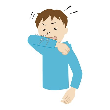 Illustration of a boy covering his mouth and nose with a sleeve when coughing or sneezing