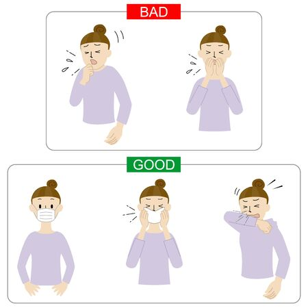 Illustration of how to deal with coughing and sneezing (etiquet coughte)