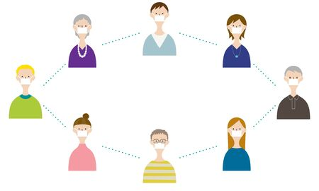 Illustration of people keeping distance for prevent infection, wearing a surgical mask for prevent virus Covid-19. @Social Distancing