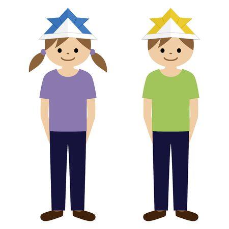 "Image illustration of Children's Day (Japanese holiday). Illustration of a child wearing a""Kabuto"" (samurai warrior helmet)."