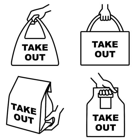 """Illustration set of 4 types of take out food icons """"TAKE OUT"""" Vecteurs"""