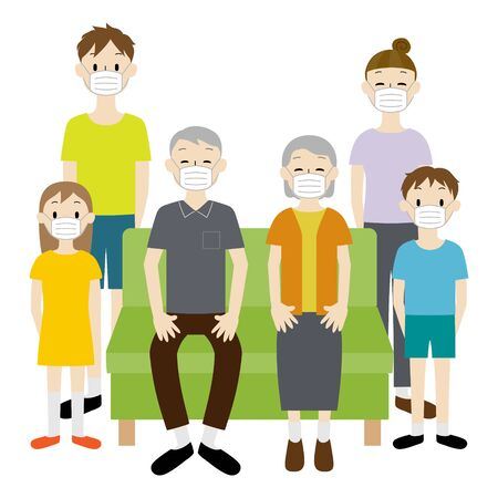 Illustration of a 3 generation family wearing medical masks to prevent infectious diseases Ilustración de vector