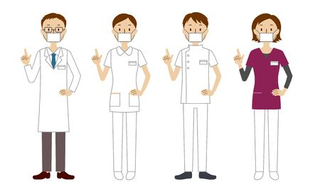 Illustration set of smiling healthcare workers (doctors, nurses, physiotherapists, radiologists)