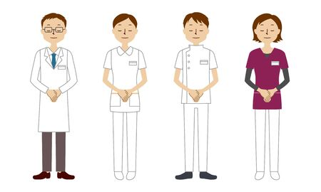 Illustration set of healthcare workers bowing (doctor, nurse, physiotherapist, radiologist)
