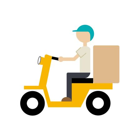 Illustration of food delivery service, vector icon isolated on white background (bicycle)
