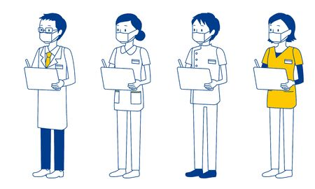 Illustration set of healthcare workers (doctors, nurses, physiotherapists, radiologists) who filled out the medical history form.