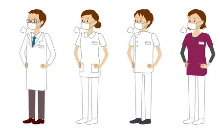 Illustration set of healthcare workers (doctors, nurses, physiotherapists, radiologists) who sighs in trouble