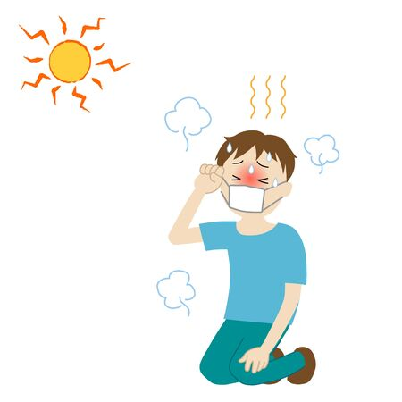 Illustration of a boy wearing a mask and likely to have heat stroke