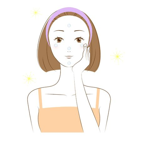 Illustration of a woman doing skin care (How to apply sunscreen)