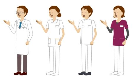 Illustration set of healthcare workers (doctors, nurses, physiotherapists, radiologists) who explain medical conditions with a smile