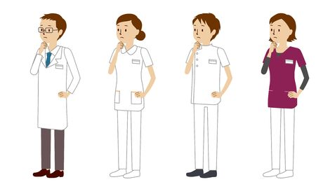 Illustration set of healthcare workers (doctors, nurses, physiotherapists, radiologists) who thinking with hands on chin