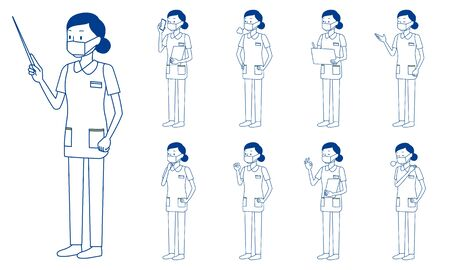 Healthcare worker (nurse) character set in 9 poses isolated vector illustartion