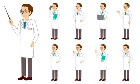Healthcare worker (doctor) character set in 9 poses isolated vector illustartion