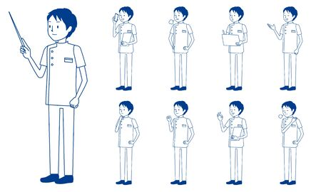 Healthcare worker (physiotherapist) character set in 9 poses isolated vector illustartion