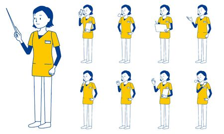 Healthcare worker (radiologist) character set in 9 poses isolated vector illustartion