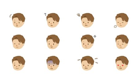 Illustration set of various facial expressions of male characters