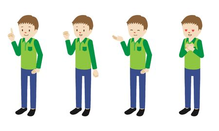 Illustration set of 4 poses of male character standing