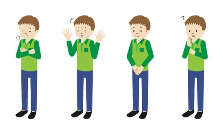 Illustration set of 4 poses of male character standing  イラスト・ベクター素材