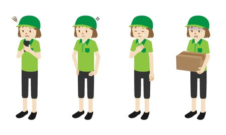 Illustration set of 4 poses of Courier delivery woman standing Stock Illustratie