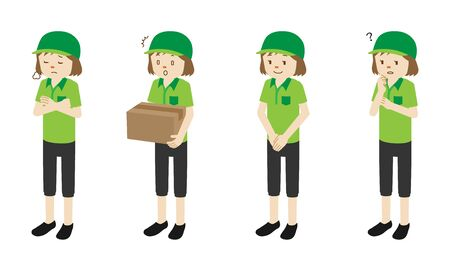 Illustration set of 4 poses of Courier delivery woman standing  イラスト・ベクター素材