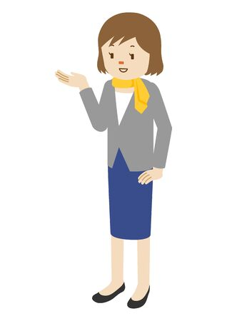 Illustration of a businesswoman guiding the customer
